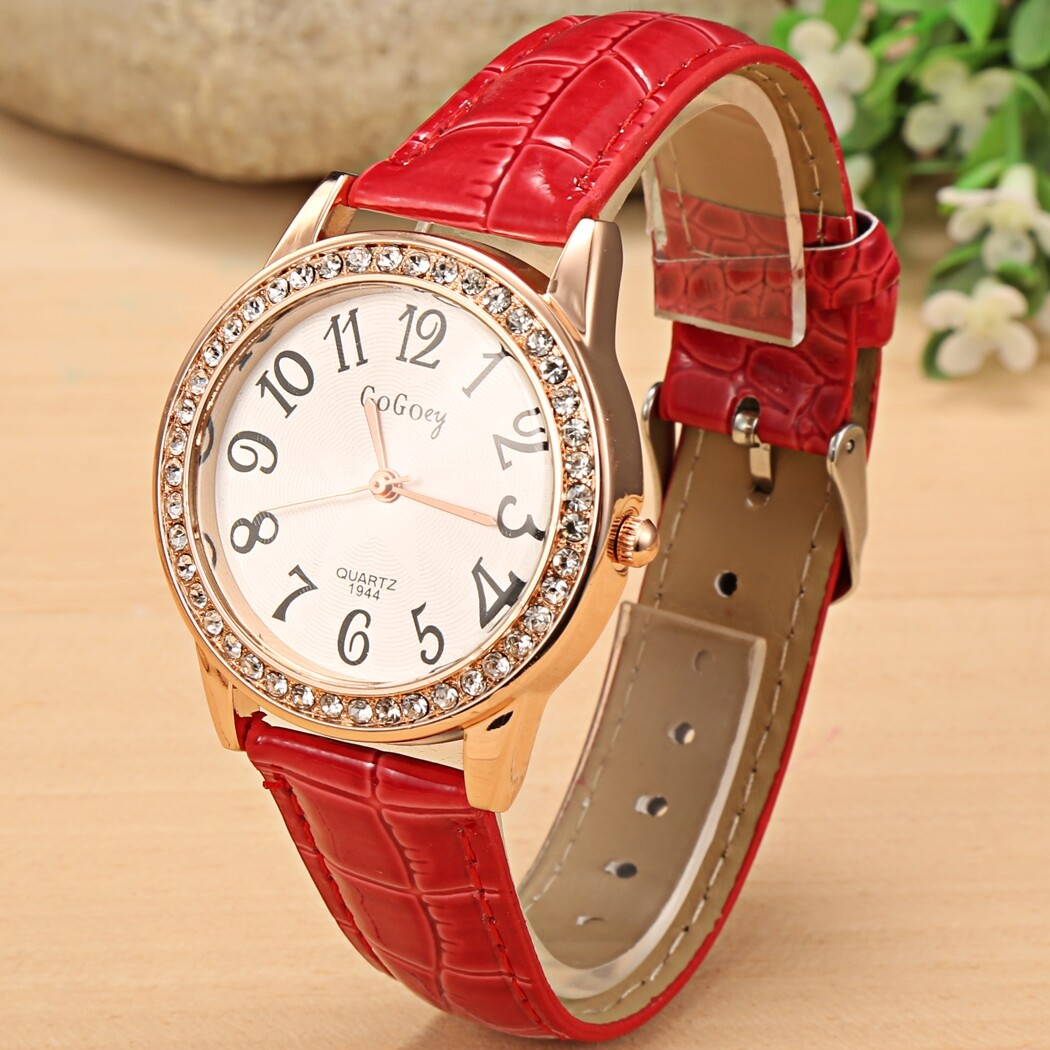Women Fashion Synthetic Leather LarDial Rhinestone Quartz Analog Wrist Watch Wristwatches Malaysia