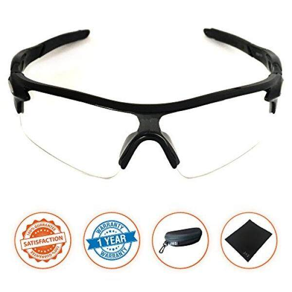 J + S Active Plus Bersepeda Luar Ruangan Atlet Olah Raga Kacamata Hitam, perlindungan UV 100% (Hitam Bingkai/Bening Lensa)-Internasional