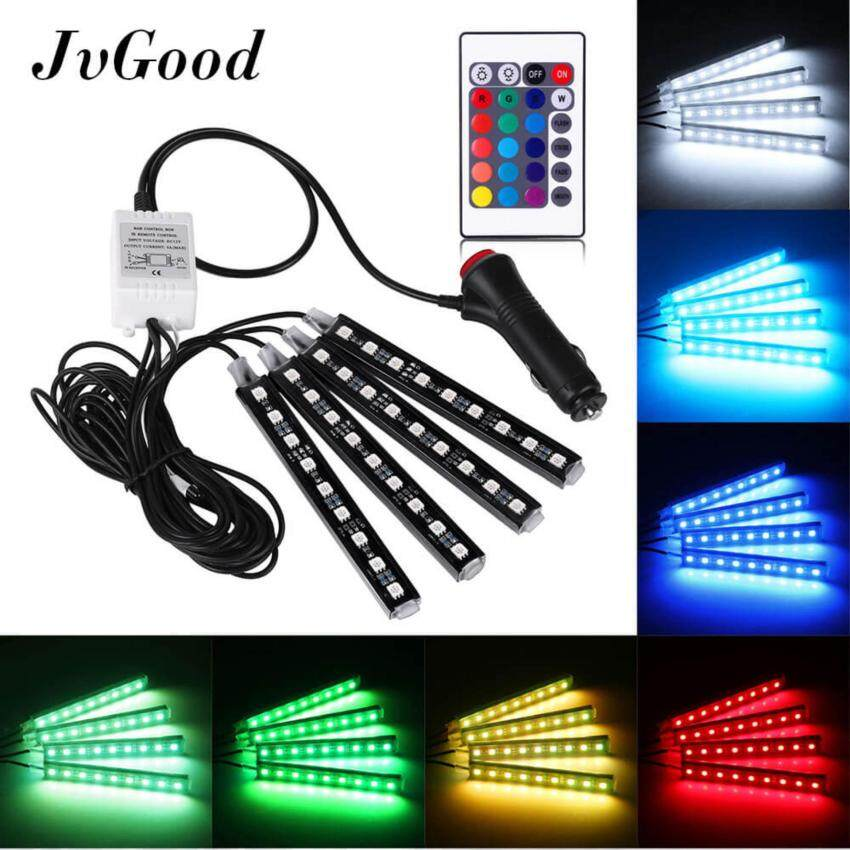JvGood Car LED Strip Light 4pcs 36 LED DC 12V Multi-color Car Interior Light LED Under Dash Lighting Kit with Wireless Remote Control, Car Charger Include
