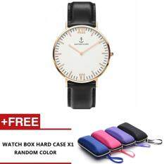 Kapten S Vintage Design Fashion Leather Strap Casual Classic leather unisex watch (Black) Malaysia