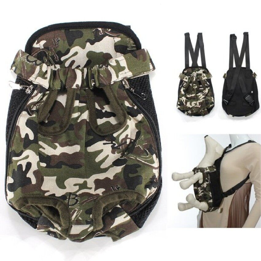 KAT XIN STORE High quality Cotton Canvas Puppy Pet Dog Carrier Front Backpack Bag CamouflagePattern XL