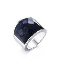 Kemstone 19 Mm Men's Modis Perhiasan Perak Yang Dipoles Tinggi Baja Titanium Lingkaran dengan Kerikil Biru (Biru Batu Pasir) pria Pernikahan Tali Cincin