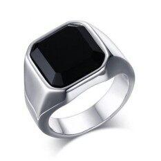 Kemstone แฟชั่นสแตนเลสสตีลธรรมดาหินนิลแหวนสำหรับชาย