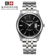 KINGNUOS 1853 Waterproof Calendar Strip Watch Mens Belt Quartz Watch Steel strip + black plate Malaysia