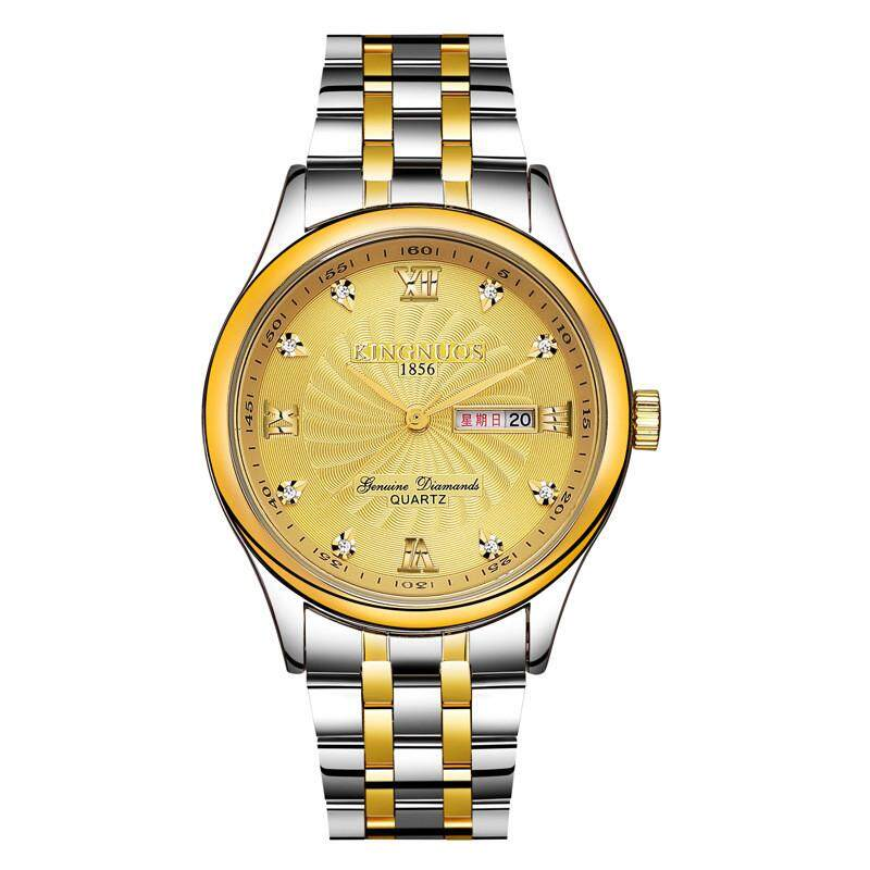 KINGNUOS 1856 High-end Trendyable Gold Men's Waterproof Double Calendar Quartz Watch Steel strip + gold plate - intl