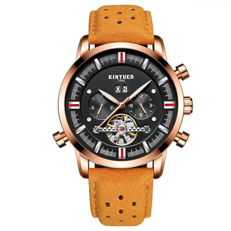 KINYUED Business Watch 3ATM Water-resistant Automatic Mechanical Watch Luminous Genuine Leather Wristwatch Male Relogio Musculino Calendar Malaysia