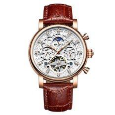 KINYUED Luxury Diamond Automatic Mechanical Watch Water-Proof Self-Wind Skeleton Man Business Wristwatch Chrono Genuine Leather + Box Malaysia