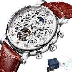 KINYUED Mens Automatic Watch Men Sun Moon Phase Waterproof Tourbillon Mechanical Watches Top Brand Luxury Leather belt Wristwatches Gifts Box Malaysia