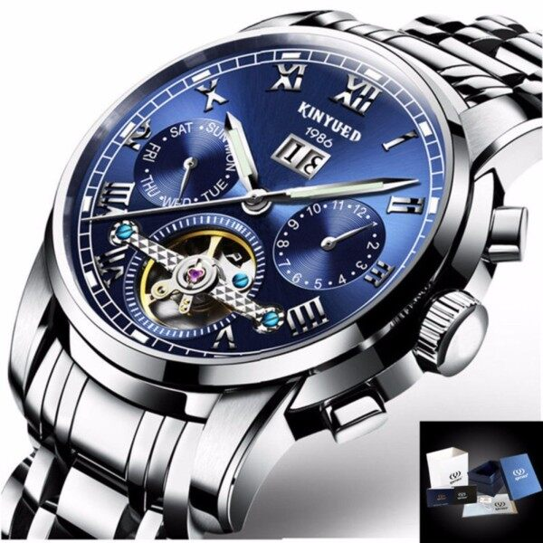 KINYUED Top Luxury Brand Classic Mens Watches Mechanical Wristwatch Sapphire Stainless Steel Gentleman Watch Fashion Man Clock Gifts Box Malaysia