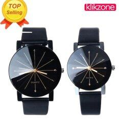 Klikzone 1 Pair of Couple Wrist Watch Casual PU Leather Round Dial Watchband (Black) Malaysia