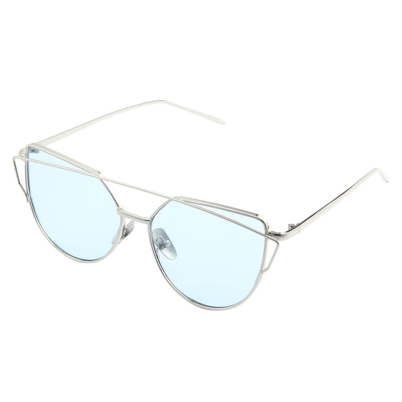 Koklopo Mata Kucing Mirrored Datar Lensa Bingkai Logam Wanita Kacamata Hitam UV400 Perak Bingkai Laut Biru