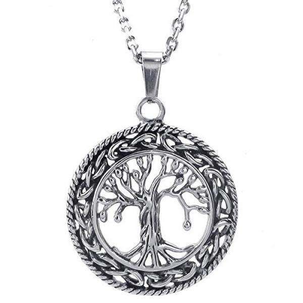 Konov Pria Wanita Celtic Pohon Kehidupan Baja Anti Karat Kalung Liontin Perak, 24 Inch Chain