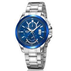 Korean Fashion Women Luxury Steel Round Dial Mountaineer Running Sport Watch Waterproof Casual Quartz Watch Analog Three Six-Pin Watch(Blue) Malaysia