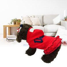 KUNPENG Anjing Piaraan Saat Ini Kecil Kue Olahraga USA Rok Hoodie Jumpsuitpetcostumes (red-xl)-Intl