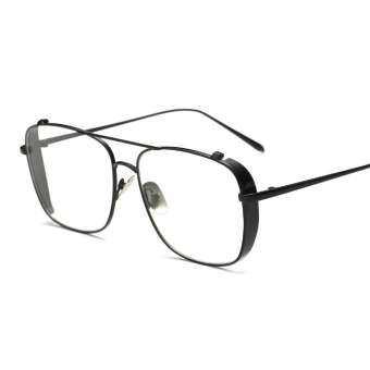 สุภาพสตรีแฟชั่นกรอบแว่นตาผู้หญิงยี่ห้อซิลเวอร์โกลด์สีดำตารางกรอบแว่นตาด้านโล่ชายหญิงGafas