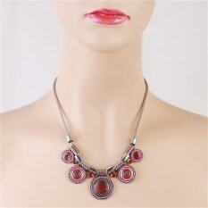 LALANG Bohemia Vintage Necklace Women Ethnic Jewelry Necklaces Hotpink