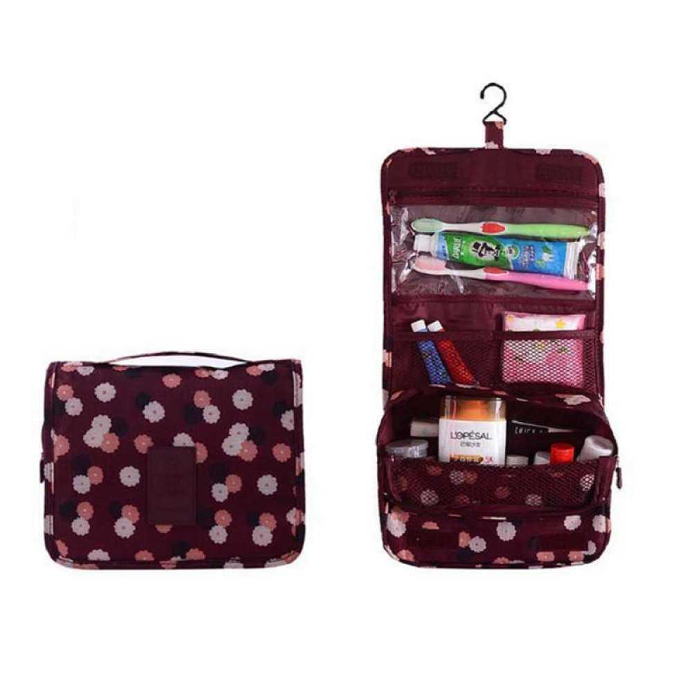 Eyqtous Lalang Cute Multi-Fungsi Smiley Portabel Lipat Perlengkapan Mandi Perjalanan Tas Gantung Merah Kosmetik