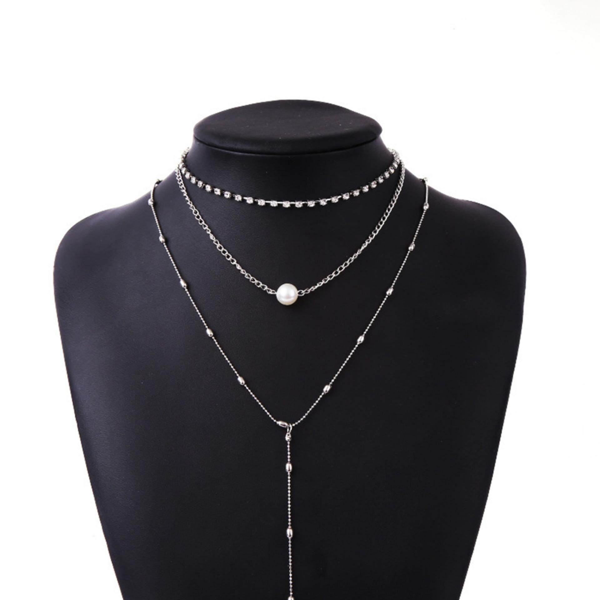 Women Pearl Multilayer Necklace Classic Gift Sliver Chain Girl Charming Clavicle Jewellery