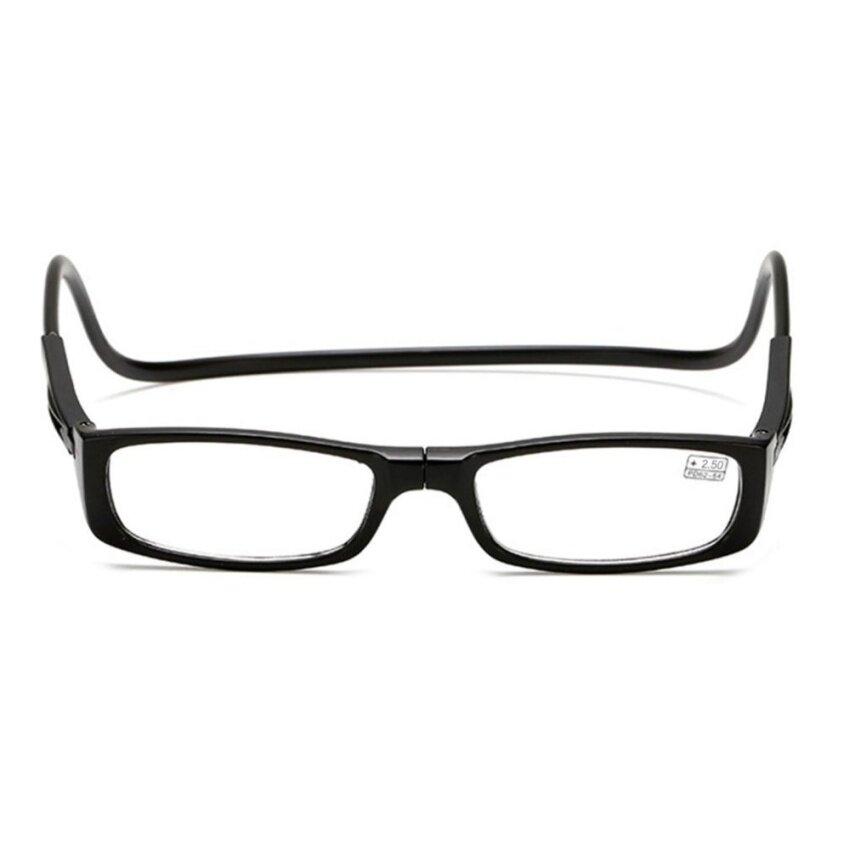 6bd6c2ac6aa5 LBQ Magnetic Foldable Men Women Square Shape Reading Glasses Hanging Neck  Glasses Black +250 Degree