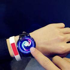 Leegoal Kreatif Jam LED Kepribadian Cahaya Biru Jam Tangan Layar Sentuh untuk Pasangan Pecinta (Kod