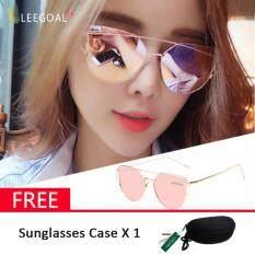 leegoal Fashion Women Sunglasses Sunscreen Anti-UV Color Film Sunglasses , Gold And Pink