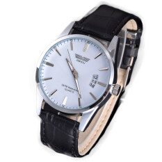 Leisure Leather Quartz Date Mens Wrist Watch (White) Malaysia