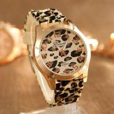 Leopard Print Quartz Movement Round Dial Wrist Watch Silicon Band Women By Mingrui.