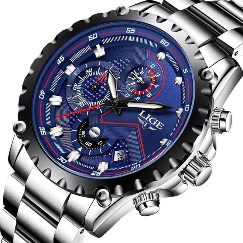 LIGE Watch Men Fashion Sports Quartz Clock Mens Watches Top Brand Luxury Full Steel Casual Waterproof Business Watch LG9821 Malaysia