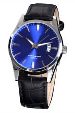 Linemart Luxury Leisure Leather Quartz Date Mens Wrist Watch (Blue) Malaysia