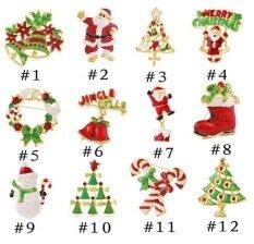 Liuanan Wanita/Pria Natal Warna-warni Dasi Kupu-kupu Bros Kristal Pin untuk Hadiah Natal Patry Suit (#8-Sepatu Natal)