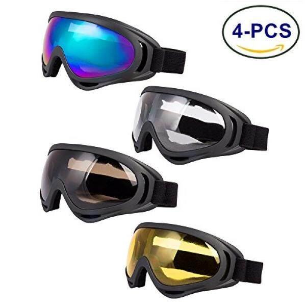 Ljdj Kacamata Ski, paket 4-Snowboard Adjustable UV 400 Pelindung Sepeda Motor Kacamata Olahraga Luar Ruangan Kacamata Taktis Debu Tempur Militer Kacamata untuk Anak-anak, anak Laki-laki, Perempuan Muda, Pria Wanita?? -Intl
