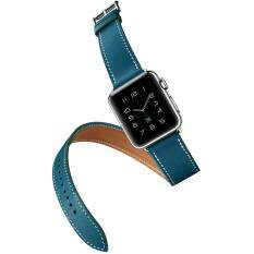 Long Genuine Leather Band Double Tour Bracelet For Apple Watch 42MM Blue Malaysia