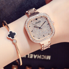 Luxury Brand Bling Rhinestone Steel Quartz Womens Watch Fashion Square Crystal Dial Rose Gold Ladies Dress Wristwatch Gifts Malaysia