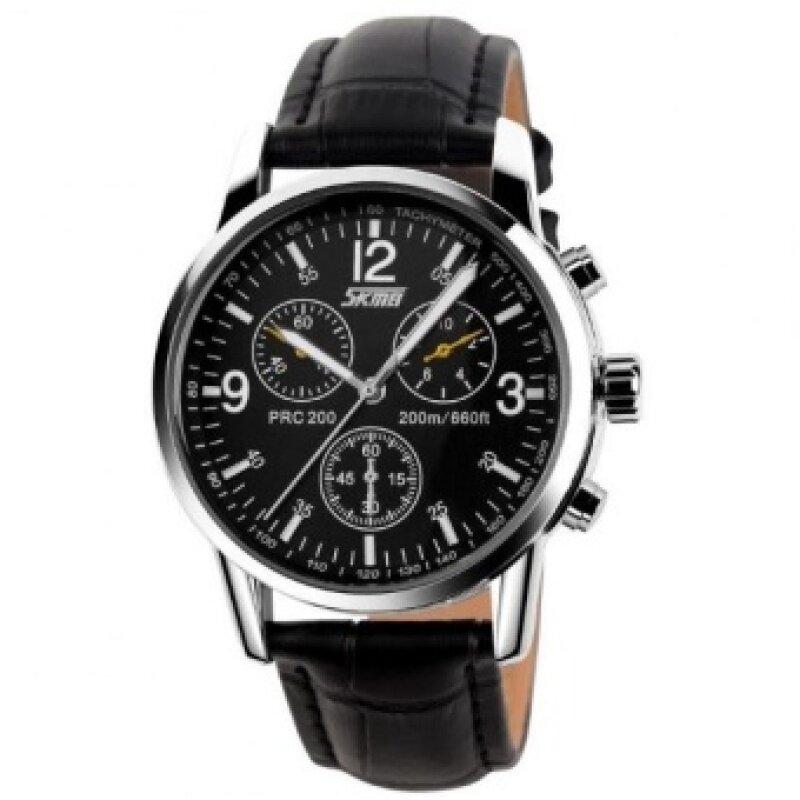 Luxury Brand Skmei Watches Mens Quartz Digital PU Leather Casual Watch Water Resistant 30M 9070 Black Black Malaysia