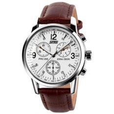 Luxury Brand Skmei Watches Mens Quartz Digital PU Leather Casual Watch Water Resistant 30M 9070 Brown White Malaysia