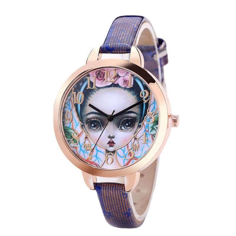 Luxury Fashion Leather Band Analog Quartz Round Wrist Watches Purple Malaysia