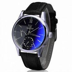 Luxury Faux Leather Mens Blue Ray Glass Quartz Analog Watches Black Malaysia