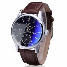 Luxury Faux Leather Mens Blue Ray Glass Quartz Analog Watches Brown Malaysia