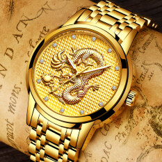 Luxury Gold Dragon Sculpture Quartz Watch Men Full Steel Wristwatch + Gift Box Malaysia