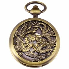 Luxury Hollow Dragon Case Hunter Roman Steampunk Skeleton Craft Mechanical Pocket Watch Jewel Chain Hand Winding Clock Malaysia