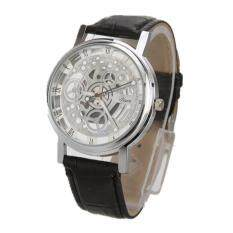 Luxury Mens Big Silver Dial Black Leather Band Strap Wrist Watch Malaysia