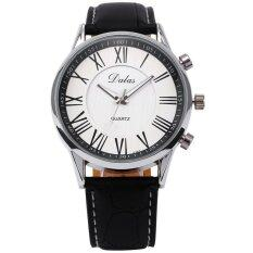 Luxury Mens Faux Leather Analog Quartz Wrist Watch Black Malaysia