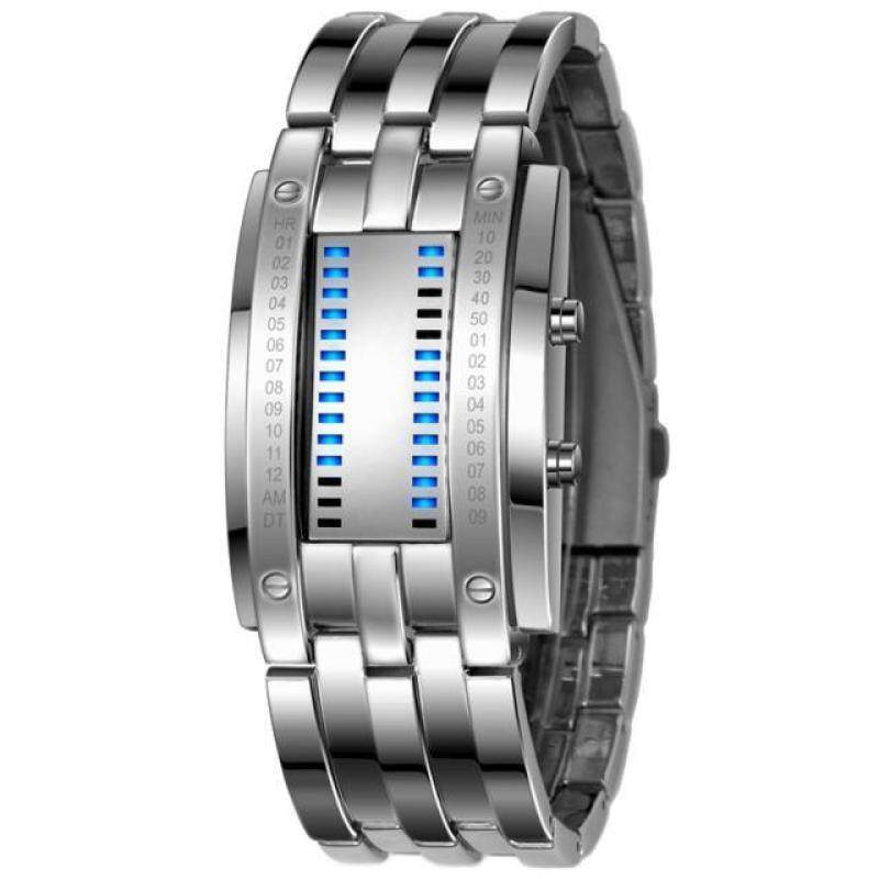 Luxury Mens Stainless Steel Date Digital LED Bracelet Sport Watches Silver Malaysia