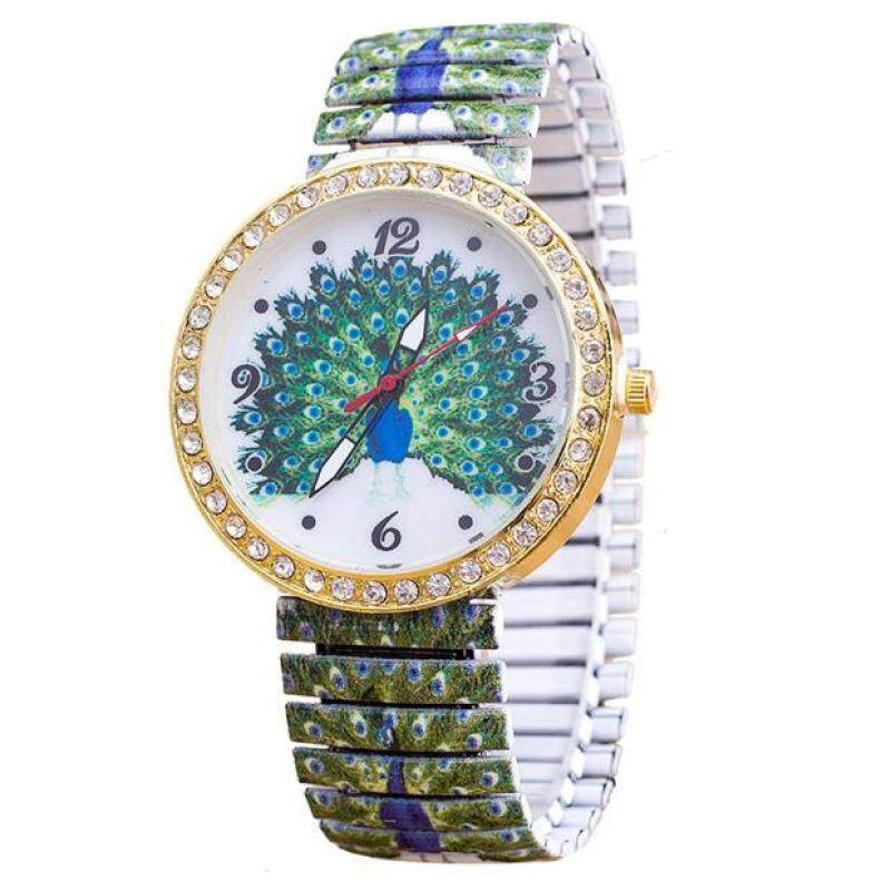 Luxury Women Elasticity Peacock Shrink Bracelet Quartz Wrist Watch Malaysia