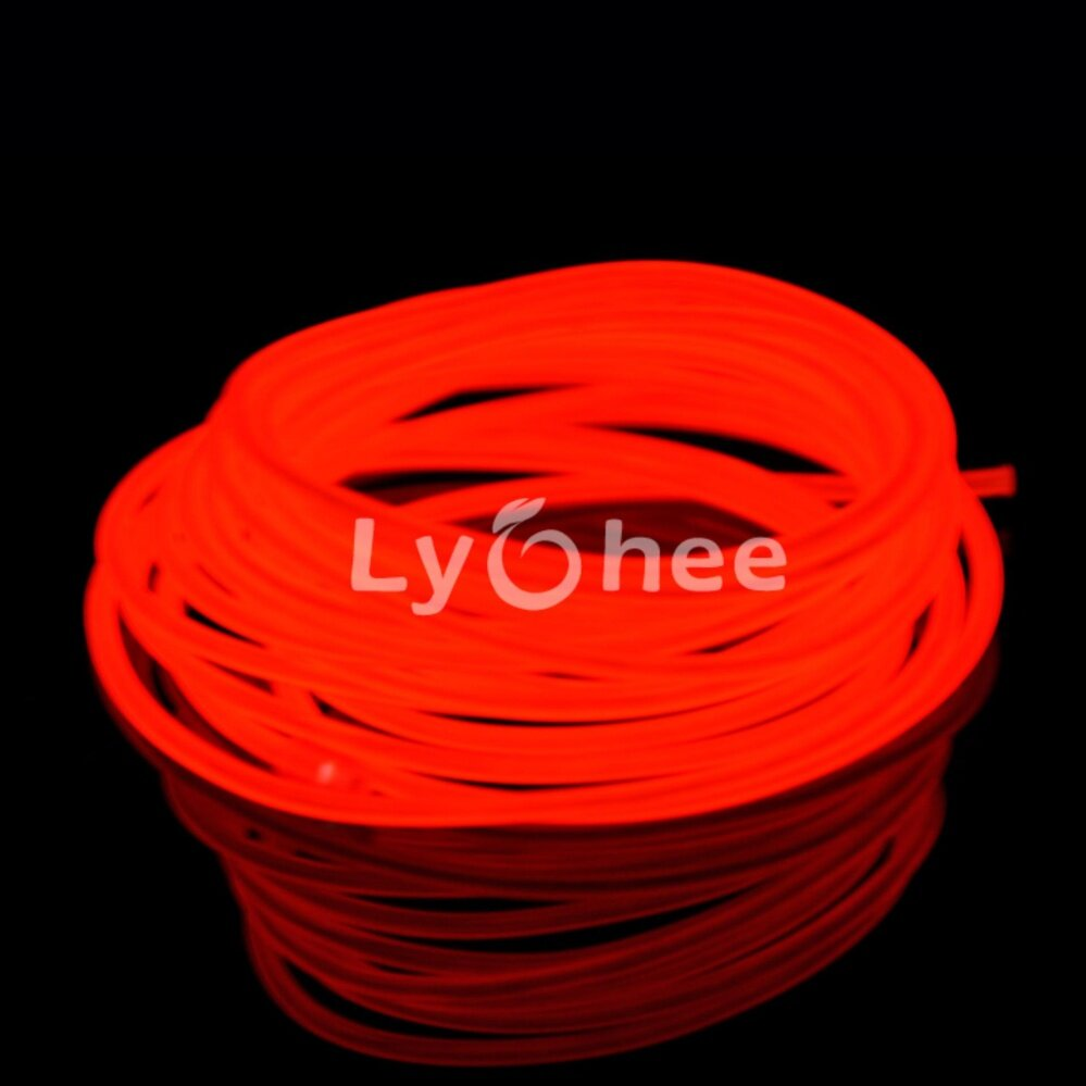 Lychee El Wire Neon Glowing Strobing Electroluminescent Light Halloween Decoration (Red, 3m 9ft)