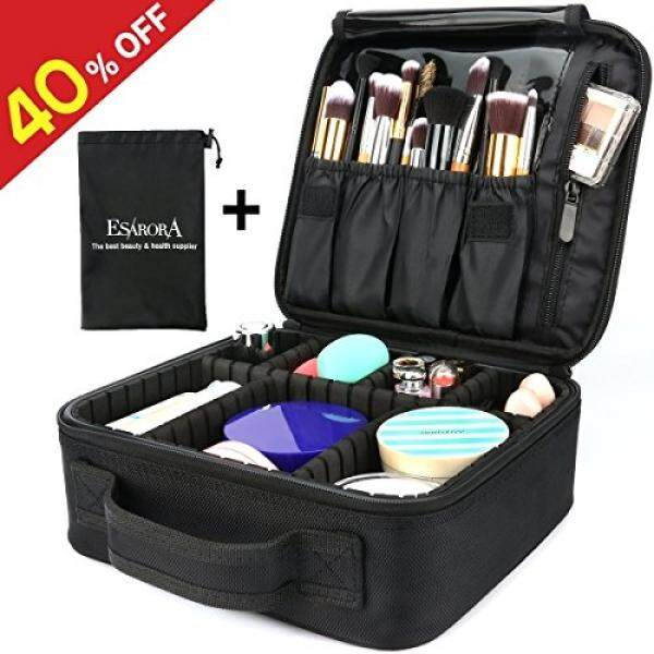 801a7f5f36ad Makeup Bag, ESARORA Portable Travel Makeup Cosmetic Case Organizer Artist  Storage Bag with Adjustable Dividers for Cosmetics Makeup Brushes Toiletry  ...