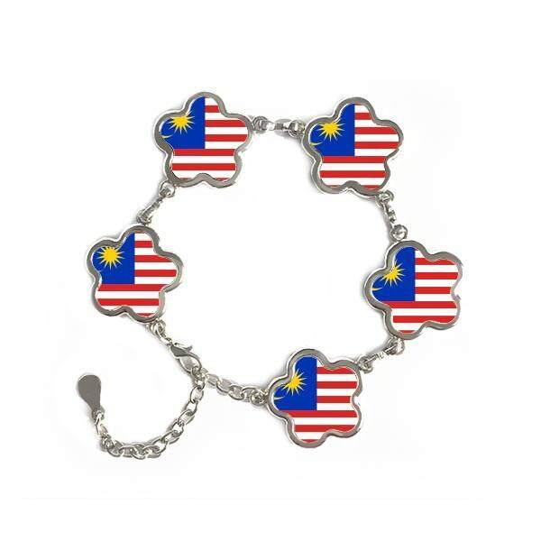 Malaysia Nasional Bendera Asia Negara Simbol Mark Pola Baja Bentuk Bunga Rantai Gelang Hadiah-Intl