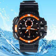 Man Digital LED Alarm Dual Display Waterproof Rubber Quartz Watch OR Malaysia