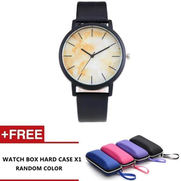 Marble design Fashion Leather Strap Casual Classic leather unisex watch (Yellow) Malaysia
