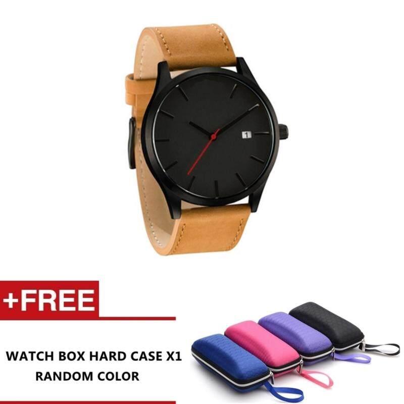 Mastica Mens Fashion Leather Band Wrist Watch Quartz Watch (Khaki) Malaysia